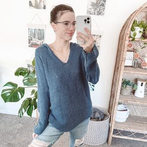 Anthropologie Moth Blue Knit Hooded Sweater